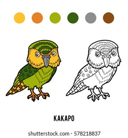 Coloring book for children, animal Kakapo parrot