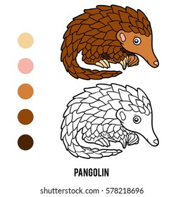 Coloring book for children, animal Pangolin