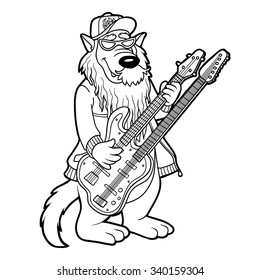 vector illustration angel dog chasing halo stock vector royalty Blind Dogs for Adoption coloring book for children animals band wolf and two neck guitar
