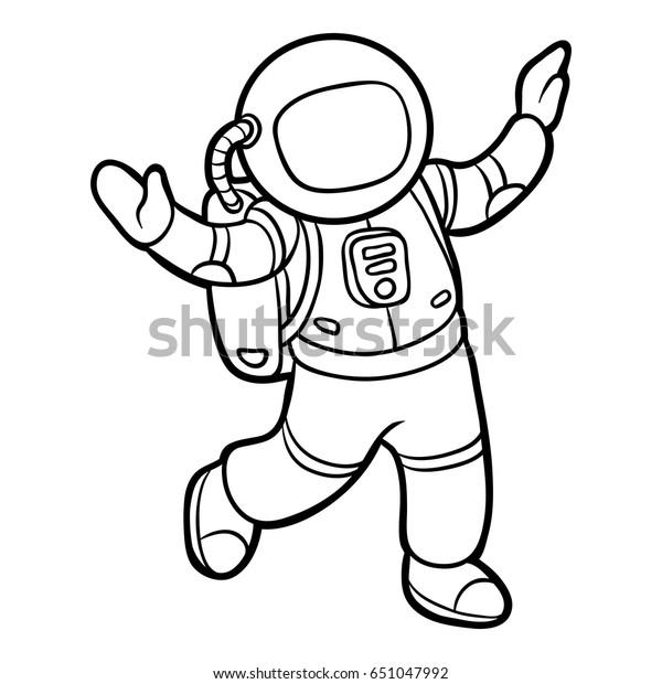 Cocuklar Icin Boyama Kitabi Astronot Stok Vektor Telifsiz 651047992