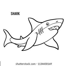 Coloring book for children, cartoon animal Shark