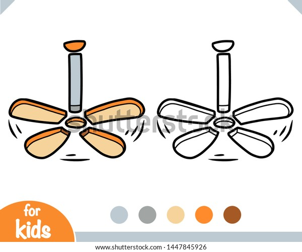 Coloring Book Children Cartoon Ceiling Fan Stock Vector