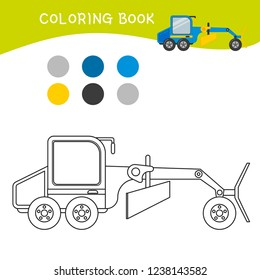 Coloring book for children. Cartoon grader.