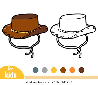 Coloring book for children, cartoon headwear, Cowboy hat