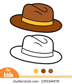 Coloring book for children, cartoon headwear, Trilby hat
