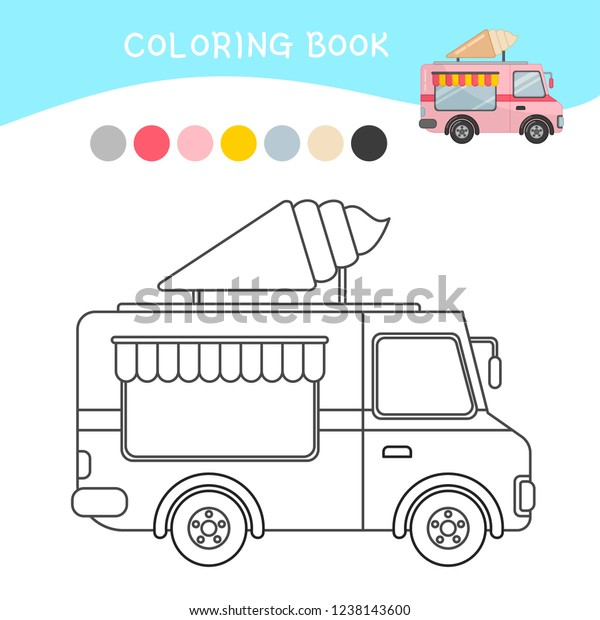 Coloring Book Children Cartoon Ice Cream Stock Vector (Royalty Free)  1238143600