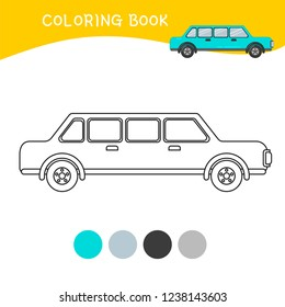 Coloring book for children. Cartoon limousine.