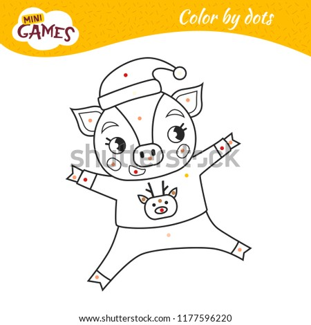 Coloring Book Children Cartoon Pig Sweater Stock Vector