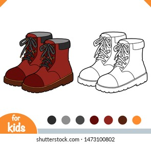 Coloring book for children, cartoon shoe collection. Brown boots