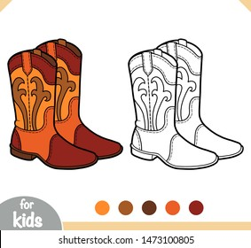 Coloring book for children, cartoon shoe collection. Western boots