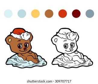 Coloring book for children (Christmas bear)