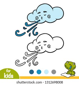 Coloring book for children, Cloud and wind
