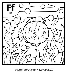 Coloring book for children, colorless alphabet. Letter F, fish