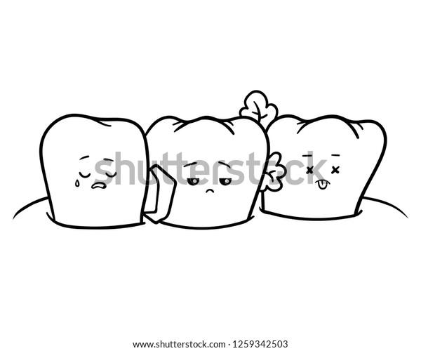 Coloring Book Children Dirty Teeth Stock Vector (Royalty ...