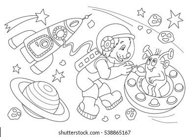 Coloring book for children. Dog in space