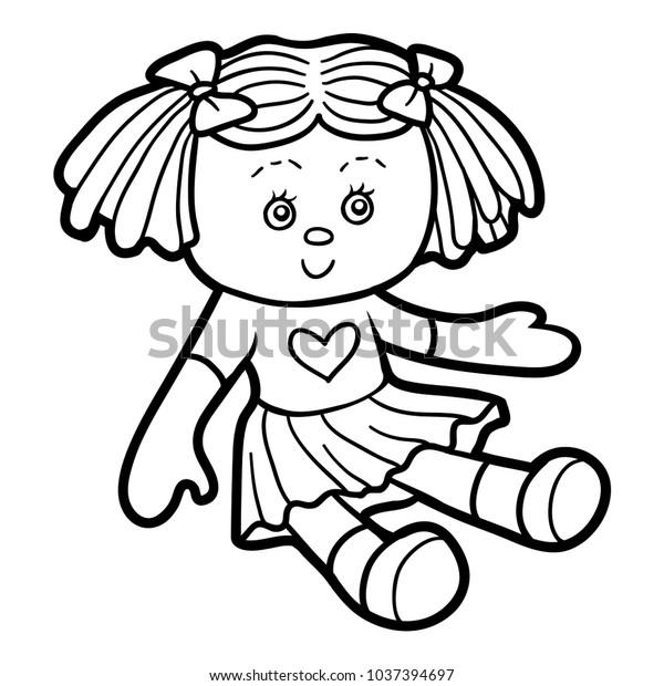 Cocuklar Icin Boyama Kitabi Doll Stok Vektor Telifsiz 1037394697