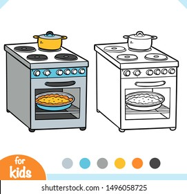 Coloring book for children. Electric stove. Black and white cartoon kitchen appliances.