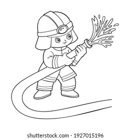 Coloring book for children, Firefighter using fire hose