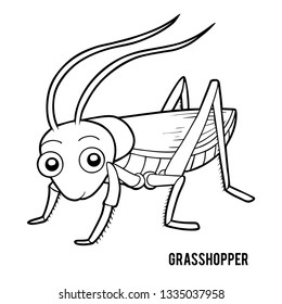 Coloring book for children, Grasshopper