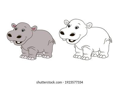 Coloring book for children, gray fat behemoth , hypopotamus. Vector illustration in cartoon style, isolated line art