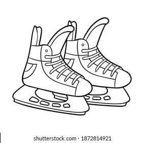 Coloring book for children, Ice hockey skates