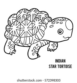 Coloring book for children, Indian star tortoise