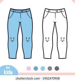 Coloring book for children, Jeans for girls