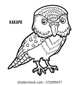 Coloring book for children, Kakapo