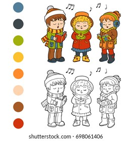 Coloring book for children, Kids Christmas Choir