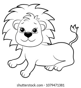 Coloring book for children. Lionet. Black and white image.