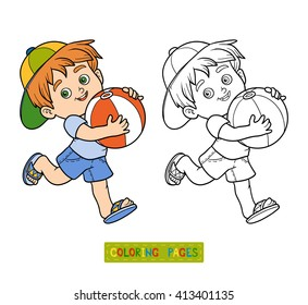 Coloring book for children. Little boy with inflatable ball