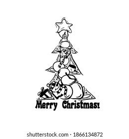 Coloring book for children. Merry Christmas card. Christmas tree made of snowmen. Vector illustration