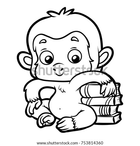 Coloring Book Children Monkey Books Stock Vector (Royalty Free ...