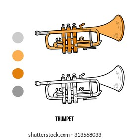 Coloring book for children: musical instruments (trumpet)