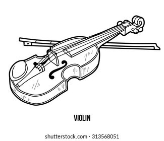 Coloring book for children: musical instruments (violin)