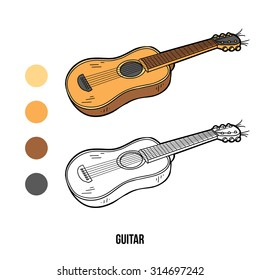 Coloring book for children: musical instruments (guitar)