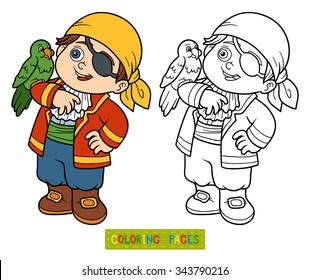 Coloring book for children: pirate boy and parrot