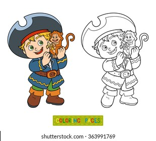 Coloring book for children (pirate boy and monkey)