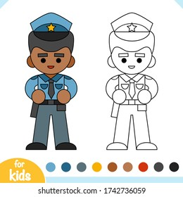 Coloring book for children, Police officer