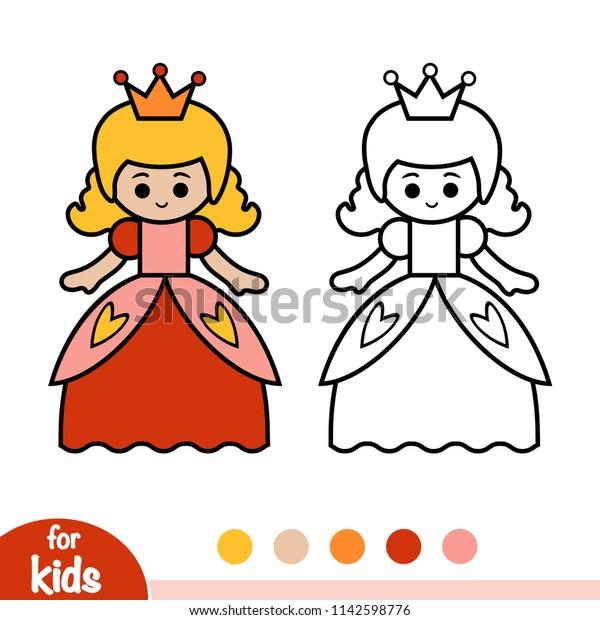 Coloring Book Children Princess Stock Vector Royalty Free
