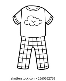 Coloring book for children, Pyjamas with cute cloud