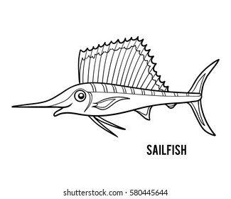 Coloring book for children, Sailfish