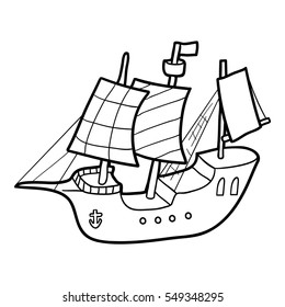 Coloring book for children, Sailing ship
