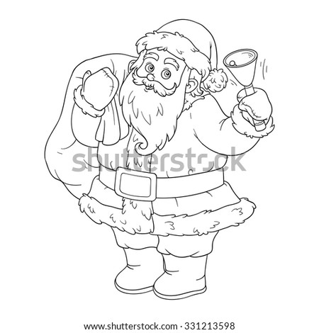 coloring book for children santa claus with a bell