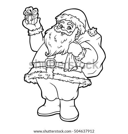 Coloring Book Children Santa Claus Stock Vector (Royalty Free ...