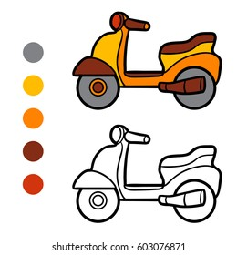Coloring book for children, Scooter