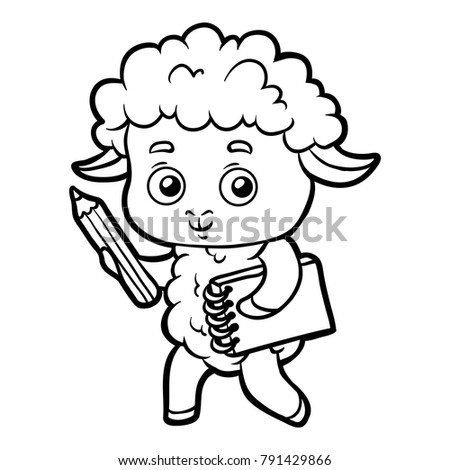 Coloring Book Children Sheep Writer Pencil Stock Vector (Royalty ...