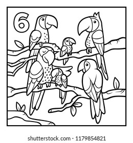 Coloring book for children, Six parrots