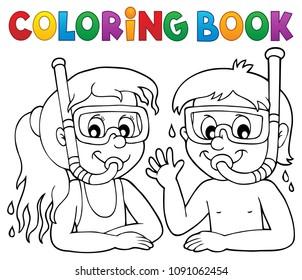 Coloring book children snorkel divers - eps10 vector illustration.