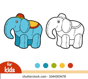 Coloring book for children, Stuffed toy Elephant